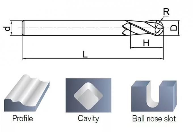 Long Tungsten Solid Carbide Ball Nose End Mill Cnc Round Spherical Milling Cutter Cutting Tools