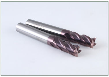 Tungsten Carbide Enough Stock End Mill 8mm / HRC 45 Coated Tialn 4 Flute Corner Radius Aluminium Cutting Tools