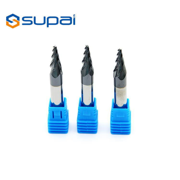 High Speed Tapered Ball Nose End Mill CNC Milling Cutters Customized Length supplier